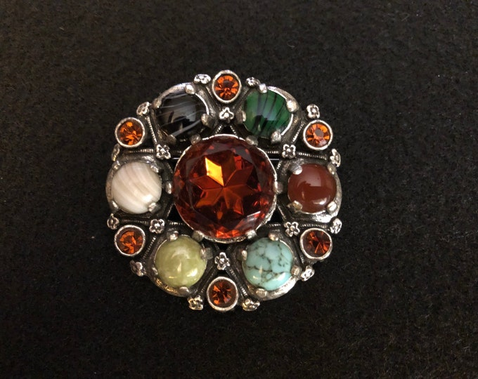 Imported Multicolored Agate and Crystal Brooch