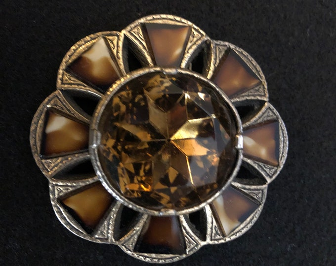 Brown Agate and Crystal Brooch