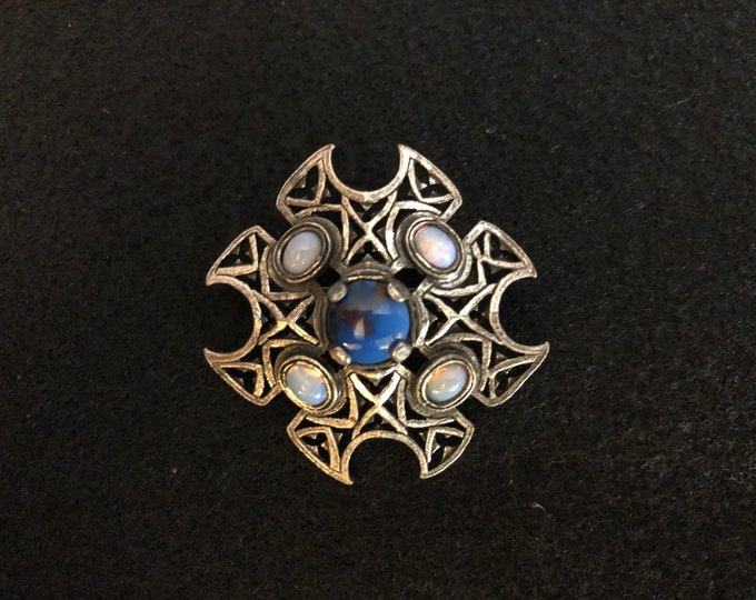 Imported Blue and Opalescent Agate Celtic Brooch
