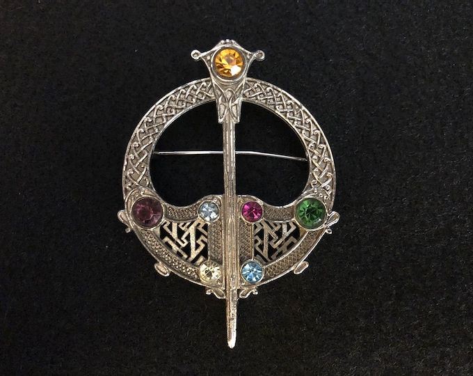 Imported Multicolored Crystal Celtic Brooch