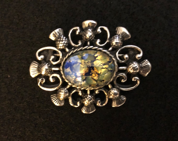 Imported Opalescent Thistle Celtic Brooch