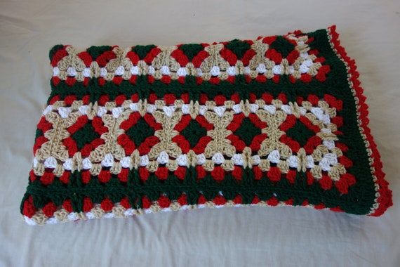 Christmas Throw Blanket.Crocheted Granny Square Christmas Throw Blanket Afghan Green Red White Beige 69 X 53 Handmade Twin Bed Spread Sofa Throw Holiday Decor