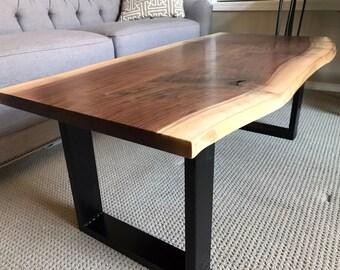 Live Edge Coffee Table   Custom Made To Order   Modern Rustic   Bench    Steel Legs   Walnut   Midcentury Mode