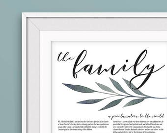 LDS Family Proclamation Printable - 11x14 - Contemporary Leaves - Instant Digital Download - Latter-day Saints - Mormon