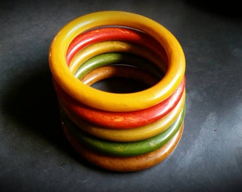 Set of 5 Art Deco Bakelite Rainbow Bangle Bracelets