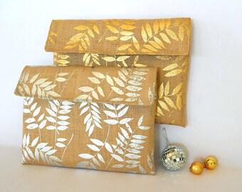Burlap clutch with silver leaf, wedding anniversary gift, iPad cover, Rustic fern wallet