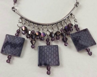 Snakeskin and Purple Sparkle Necklace