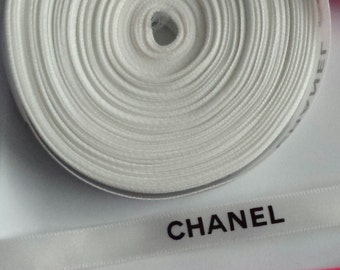 """Sale! 3/8"""" wide -  5 yards White Authentic CHANEL Ribbon New"""