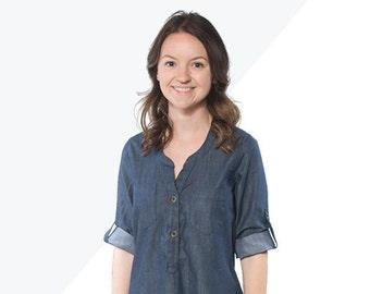 Cheyenne Tunic, womens button-down collared shirt or tunic pdf sewing pattern