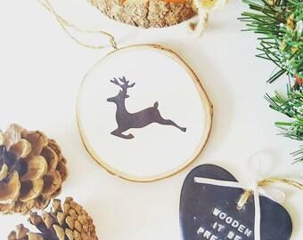 Reindeer wood slice, rustic wood slice decoration, handpainted, tree decoration, christmas ornament, christmas decoration, wood slice,