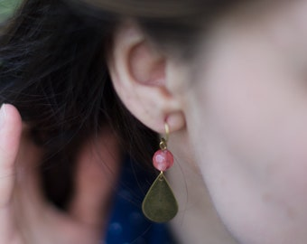 The Alice : raw brass and tourmaline earrings