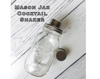 Glass Mason Jar Cocktail Shaker, Vintage Cocktail Shaker, Martini Shaker, Ball Mason Jar Shaker, Redneck Cocktail Shaker