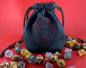 Dice bag // with D20 Embroidery