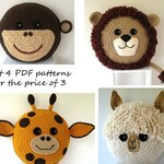 Zoo pack - 4 CROCHET PILLOW PATTERNS for the price of 3 - Alpaca/Llama - Lion - Monkey - Giraffe - crochet patterns for animal cushions