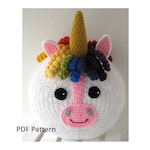 Rainbow Unicorn Pillow - Cushion CROCHET PATTERN - crochet patterns for animal pillows - Birthday present - Baby shower gift