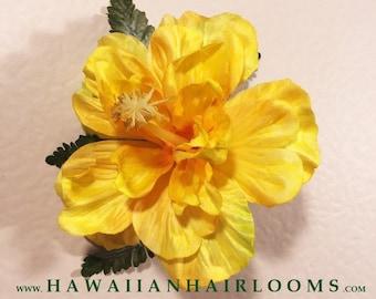 HIBISCUS in YELLOW-Hawaiian Hair Clip,Hibiscus,Silk flower,Hair Clip,Yellow flower,Hula,Pinups,Hair accessories,Bridals,Proms,Bridals,Hawaii