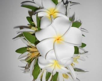 Flowers hawaiian etsy plumeria aria hawaiian hair cliptropical flower clipwhite plumeriahula flowershawaiiweddingspinup hair clip mightylinksfo