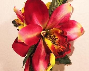 QTY 2 Hawaii Bridal Wedding Part Orchid Flower Hair Clip ~ WHITE CORAL PK