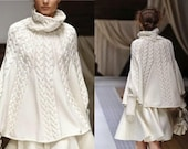 Hand knit poncho women Cape poncho knitted Hand knitted white cape Poncho Made to order Chunky knit poncho Hand knit cozy poncho Any size