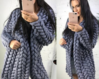2a715bdaf Women knit cardigan Cardigan Lalo Chunky knit cardigan Hand knitted  cardigan Oversized cardigan Winter fashion wool knit Many colors
