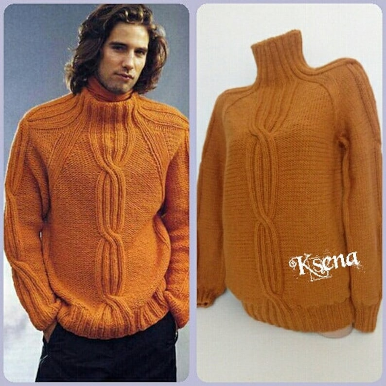 ffb9edecc7aafd Men s hand knitted sweater Aran wool sweaters Hand knitted