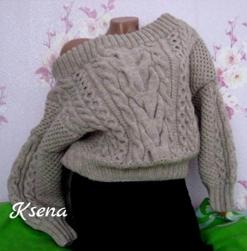 Ruban sweater Handknit sweater Oversized knitting sweater Chunky cable knit  sweater Hand knit Aran sweater XS-XXL size sweater loose sweater b9ee94573