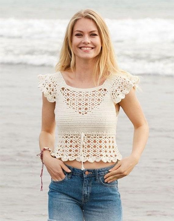 Crochet Top Woman Cotton Crochet Top Sexy Crochet Crop Top Etsy