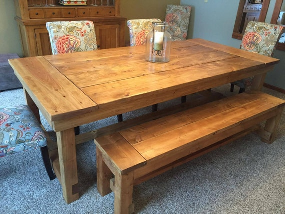 Remarkable Rustic Dining Table And Bench Pabps2019 Chair Design Images Pabps2019Com