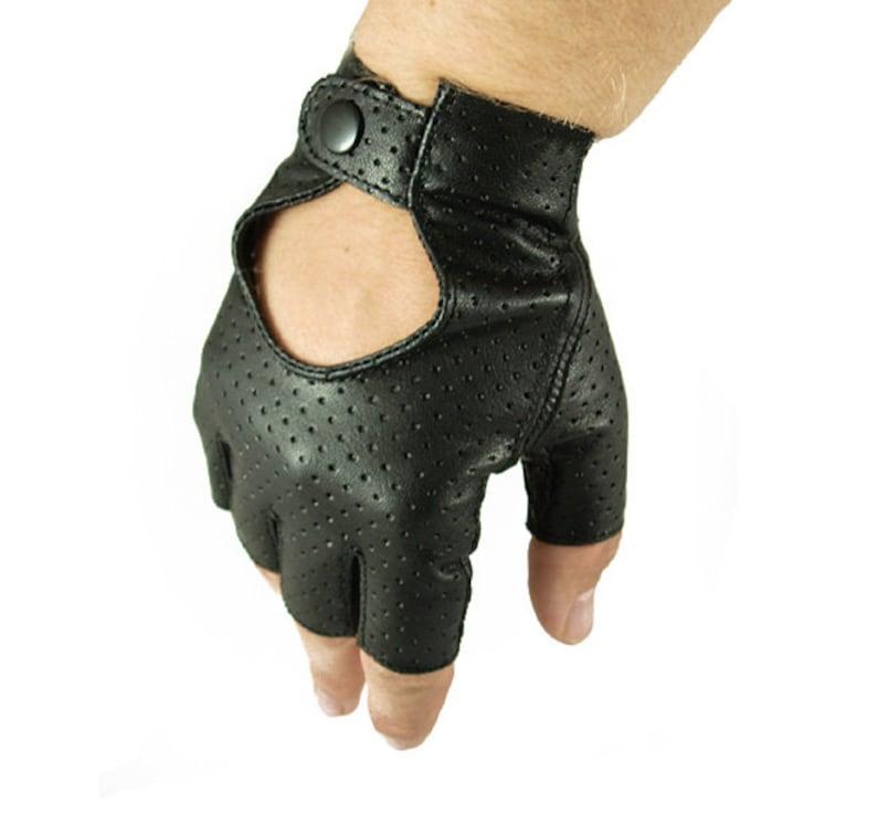 bc79a7e62d5961 Fingerless men's leather gloves car driving gloves | Etsy