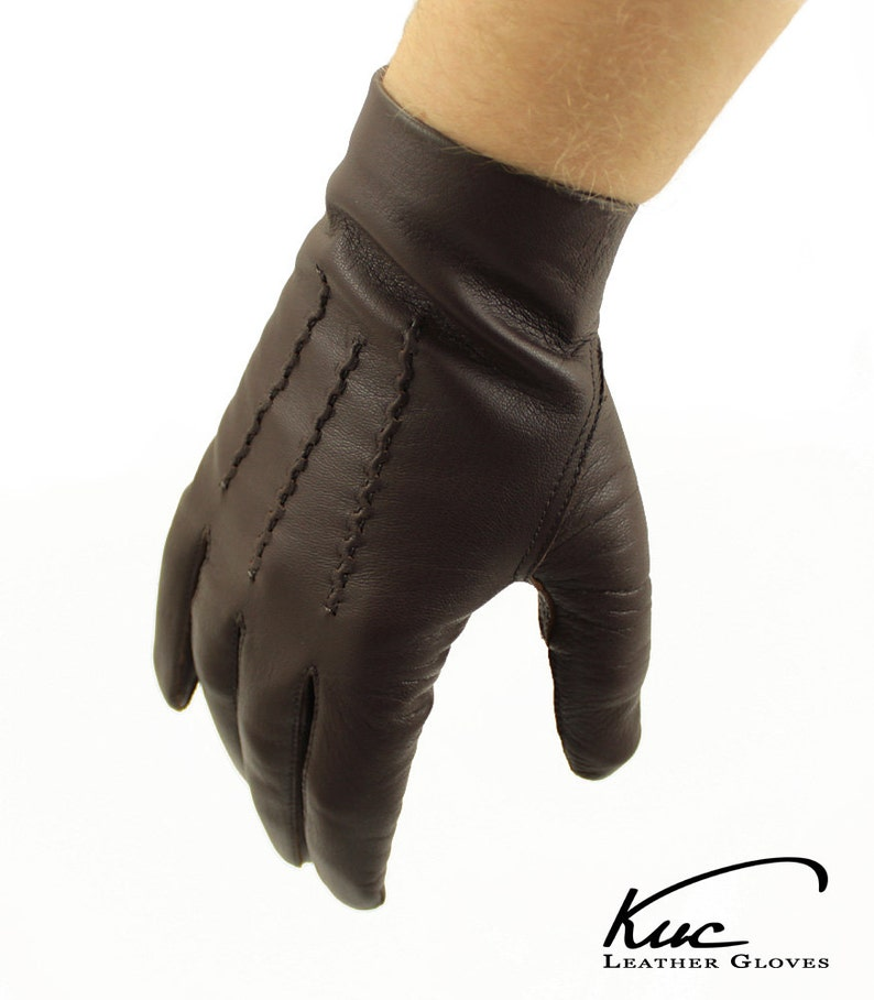 c2509892c2934 Mens unlined leather gloves classic gloves with popper wrist | Etsy
