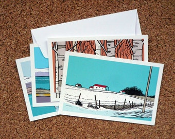 "Set of 8 ""Snow Mix + Iceland"" Greeting cards // 82 x 128 mm"