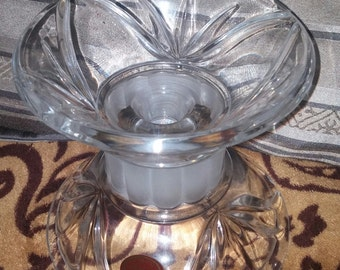 A Gorgeous Gorham 1831 Marquette Crystal 5 inch Reversable Candle Holder Pillar With Frosted Center