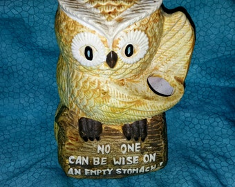 "Vintage Adorable Enesco Owl Utensil Holder Figurine Sitting on a Log  with the Phrase ""No One can be Wise on an Empty Stomach"""