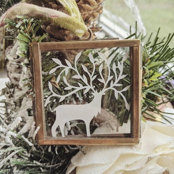Miniature Woodland Deer, papercut art, original design framed decoration, happy wall art