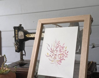 Botanical watercolour painting - pink and gold details