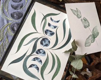 Moon Phase and Botanicals Watercolour Print , Lunar Leaves