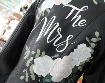 Bespoke Bridal Leather Jacket - hand painted florals