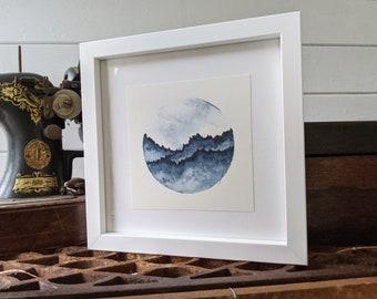 Blue Mountain Watercolour, Framed Original Forest