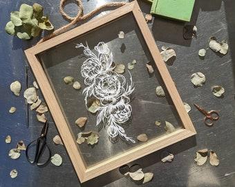 Delicate peony papercut, Framed paper art, Original floral botanical art