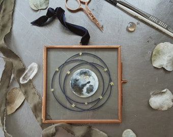 The Moon & Stars - Framed hanging papercut,Moon child decor