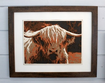 Highland Cow Layered Paper Art