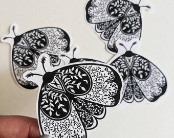Moth sticker - matte vinyl black and white moth