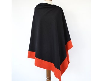 Black Wool Poncho, Asymmetrical Poncho, Wool Wrap, Colour Block Poncho Sweater, Black Wool Cape, Wool Wrap Shawl
