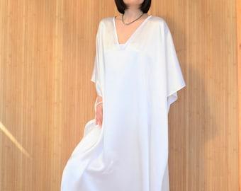 7da6286442 White Silk Kaftan Dress
