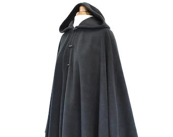 Womens' Black Handmade Cape, Black Hooded Cloak, Plus Size Cape Coat, Hooded Poncho