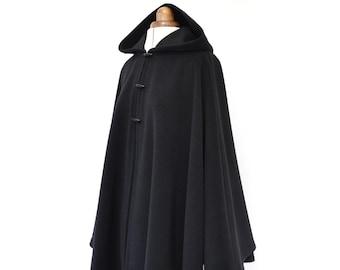 Black Wool Cape, Women's Hooded Poncho Jacket, Black Wool Cloak, Cashmere Cape Coat