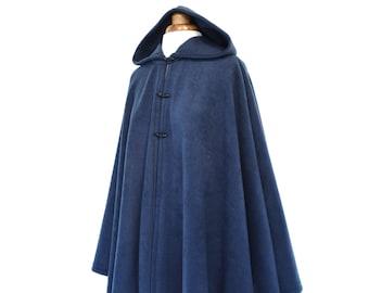 Navy Blue Hooded Cape, Blue Hooded Cloak, Plus Size Cape Coat, Blue Hooded Poncho Jacket