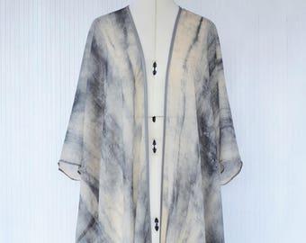Silk Kimono, Grey Silk Blazer, Kimono Jacket, Open Front Kimono, Silk Evening Jacket, Elegant Resort Wear, Silk Cover Up