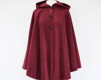 Burgundy Hooded Cloak, Dark Red Hooded Cape, Plus Size Cape Coat, Fleece Cape, Cosplay Cloak, Red Riding Hood Cape