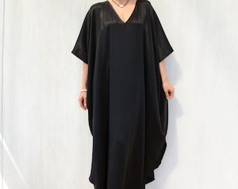 Black Silk Kaftan, V Neck Maxi Dress, Plus Size Caftan Robe, Long Elegant Kimono Kaftan, Black Evening Dress, Long Silk Tunic for Holiday